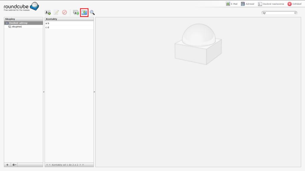 Tlačidlo Exportovať kontakty vo formáte vCard
