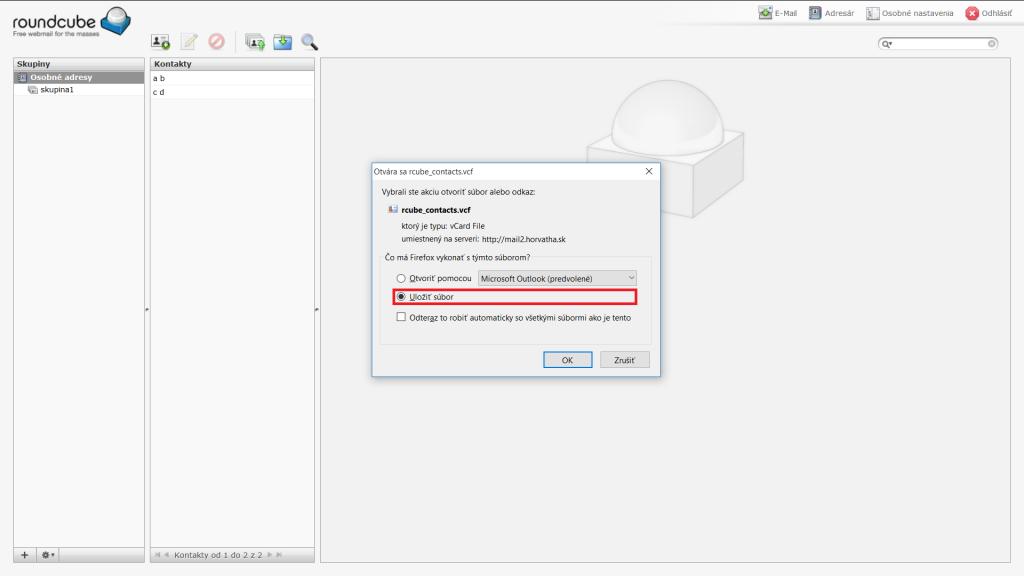 Dialógové okno pre uloženie súboru v prehliadači Mozilla Firefox