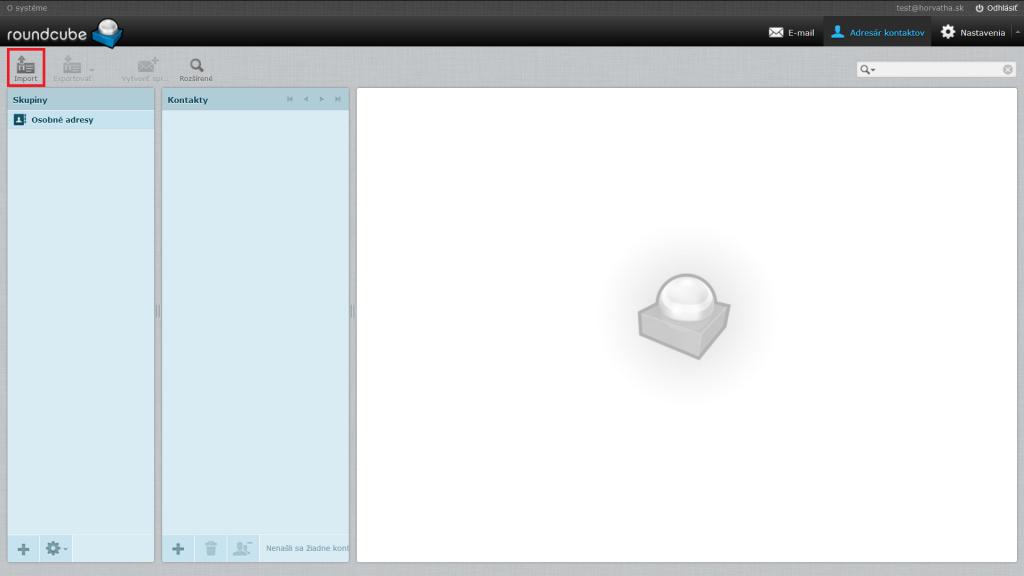Tlačidlo Import v novej verzii klienta RoundCube